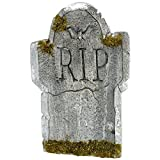 "Amscan Creepy Cemetery Halloween Party ""R.I.P"" Mossy Tombstone Decoration (1 Piece), Grey, 22"""