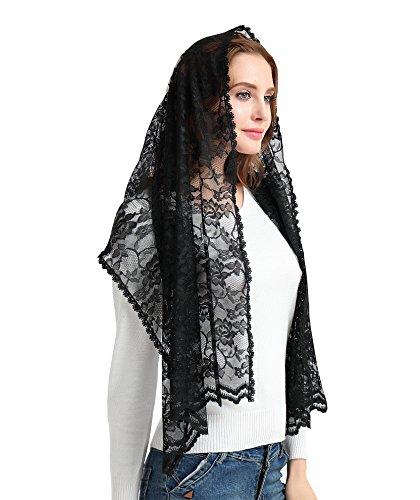 Leimandy Wedding Lace Veil Catholic Mantilla Head Covering Lace Headwrap S06 (Black) (Veil Scarf)