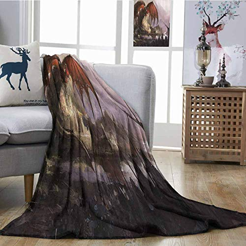 Zmcongz Soft Blanket Dragon Decor Collection Medieval Fantasy Theme Dragon and Dark Knights in Battle Scene with Fortress Castle Home, Couch, Outdoor, Travel Use W70 xL84 Grey Rustic Red ()