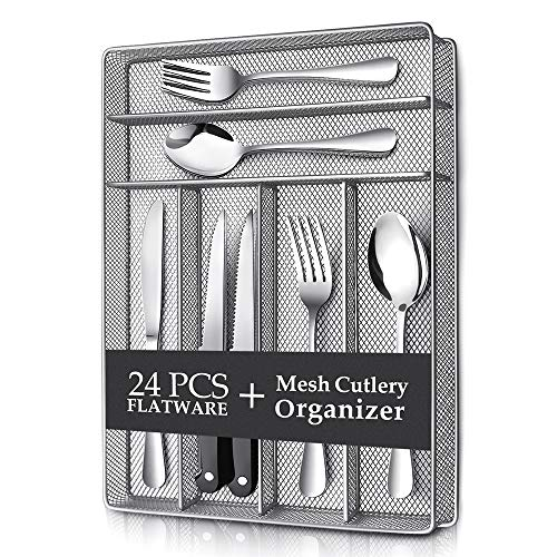 Teivio 24 Piece Silverware Set, Flatware Utensils Set Mirror Polished, Dishwasher Safe Service for 4, Include Knife/Fork/Spoon/Steak Knife/Wire Mesh Steel Cutlery Holder Storage Trays (Silver tray)
