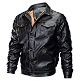 Charberry Solid Color Plus Velvet Thick Multi-Pocket Leather Coat,Men Autumn Winter Biker Motorcycle Button Blouse