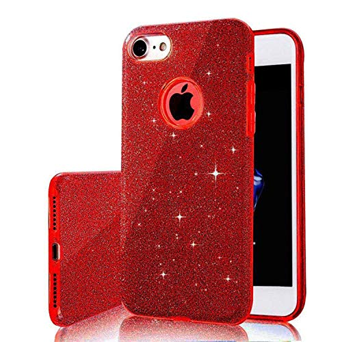(for iPhone X XS Max XR Luxury Bling Glitter 3 in 1 Shining Case for iPhone 7 6 6S 8 Plus 5 5S SE 6Plus 7Plus Back Cover,Red,for iPhone 8)