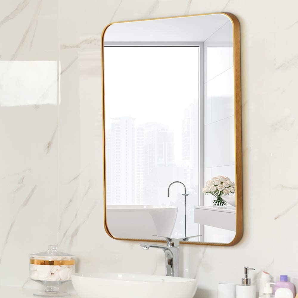 Gold, 48x28 Toppay Framed Bathroom Mirrors for Wall
