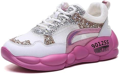 XLY - Zapatillas de Running para Mujer, Suela Gruesa, 36, Rosado: Amazon.es: Deportes y aire libre