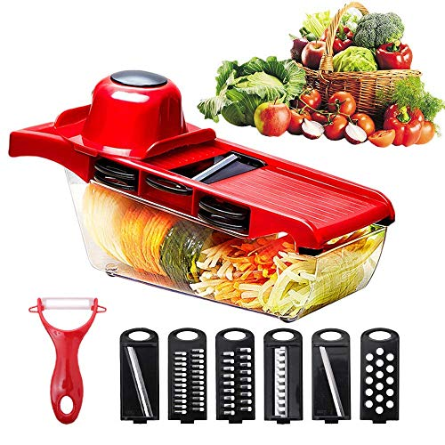 (ISPIRITO Mandoline Slicer Vegetable Slicer Multifunctional Veggie Cutter Spiralizer with 6 Blades and 1 Peeler Adjustable Heavy Duty Patato Masher Onion Grater 6 in 1 Kit Stainless Steel Chopper)