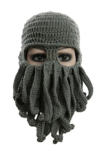 MerryJuly Unisex Adult Barbarian Knit Beanie Octopus (Grey)