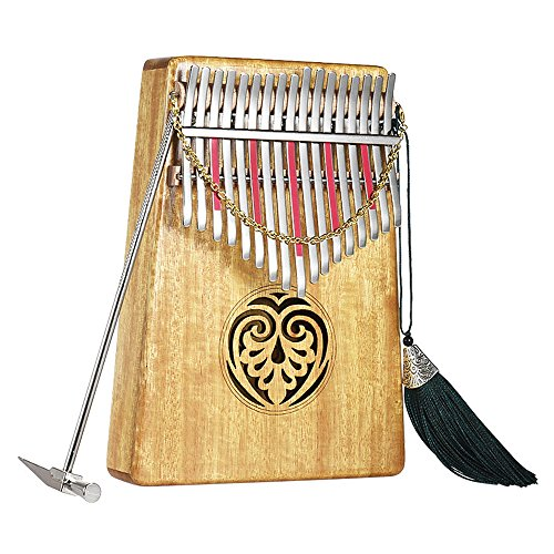 ammoon Kalimba 17 key Thumb Piano Solid Wood Finger Piano with Carry Bag Tuning Hammer AKP-17L ()