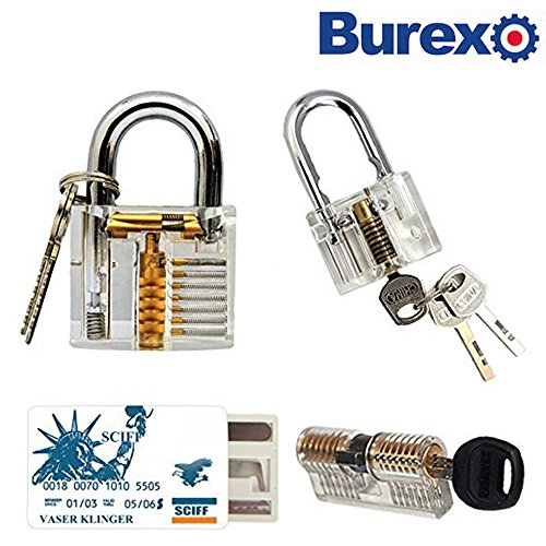 15 pc Practice Training Cutaway Padlock Set, Includes 3 Different Common Clear Crystal Transparent Padlocks With 7 Regular keys + 5 Training Tools Practice Keys (Credit Card) Kit For Kids