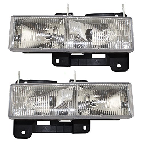 Composite Headlights Headlamps Pair Set Replacements for 90-02 Chevrolet GMC SUV Pickup Truck 15034929 15034930