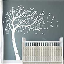 Design Divils All White Supreme Bursting Blossom Tree with Birds and Cages. Vinyl Matte Wall Decal Sticker DD006