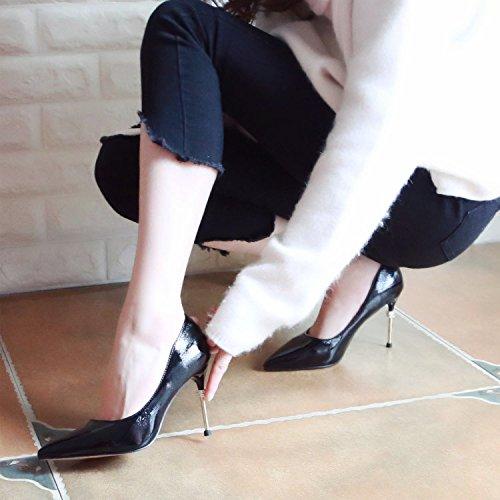 Ammenda Trapano Sottile Calzatura Molla ZHUDJ La Tacco Alto Profonde black Scarpe Acqua Meno Tacchi Singola Scarpe 684E5nq4x
