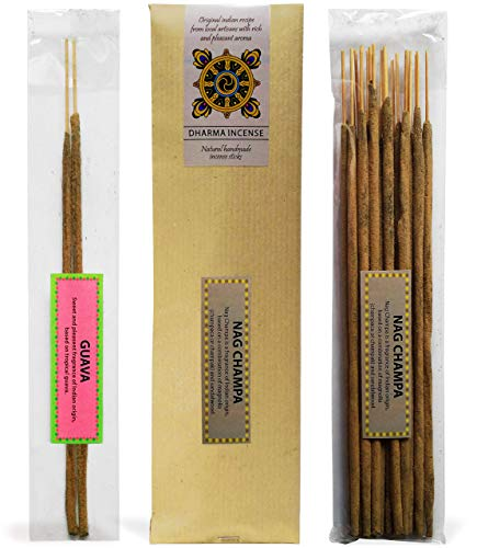 Nag Champa with Gift of Guava Sticks, Natural Indian Handmade Incense Sticks 1.4 Ounce (40 Gram), Original Recipe with Rich and Pleasant Aroma for Yoga, Meditation, Relaxation and Aromatherapy ()