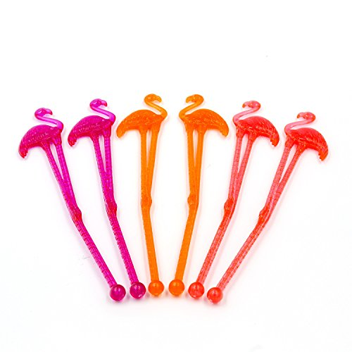 Flamingo Drink Stirrers (50 pack) - 6 Inch Long Reusable Plastic Drink Swizzle Sticks - Fill Up Your Bar Caddy With Fun Tropical Flamingo Cocktail Stirrers (Assorted Colors) ()