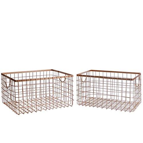 SLPR Wire Storage Shelf Basket (Set of 2, Copper) | Organizer for Laundry Pantry Freezer Cabinet Bathroom