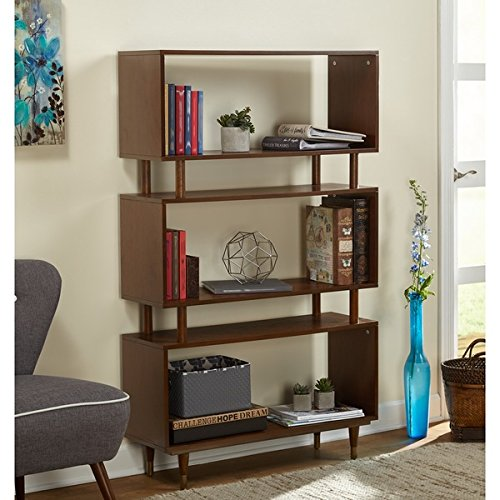 Bookshelves Margo Mid Century, (Walnut Brown) by Simple Living Products