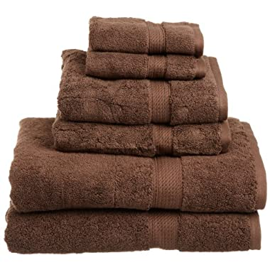 Superior 900 Gram 100% Premium Long-Staple Combed Cotton 6-Piece Towel Set, Chocolate