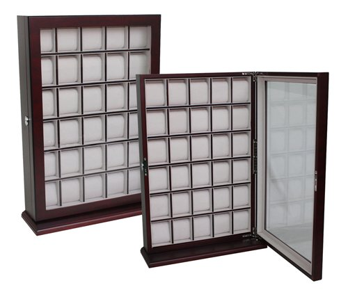 30 Piece Cherry Wood Watch Display Wall Hanging Case And