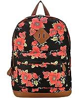 MeliTech Printing Flowers Canvas Backpack Shoulder Bag Students Bag