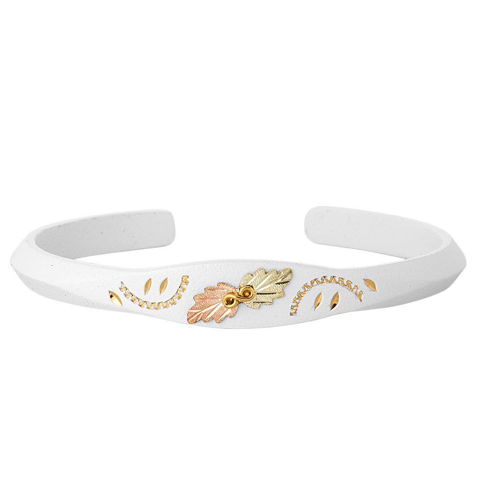 Petite White Enamel Trim Bangle Bracelet, 10k Yellow Gold, 12k Green and Rose Gold Black Hills Gold Motif