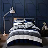 DB&PEISHI Stripe 4 Piece Cotton Cotton , dark navy , full