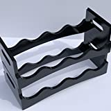 Wine Rack - Stackable - 2-tiers per box, holds up to 8 Bottles - Upper quality finishing - Solid Bright Black or White - Elegant wine display for bar, cellar, pantry - Over table or countertop (Black)