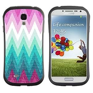 Suave TPU GEL Carcasa Funda Silicona Blando Estuche Caso de protección (para) Samsung Galaxy S4 I9500 / CECELL Phone case / / Zig Zag Purple Hills Pattern /