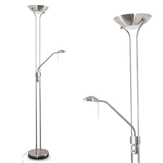 Lámpara de pie LED de metal Rom con brazo de lectura