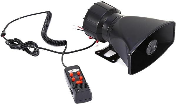 Qiilu 5 tonos Sonido Alarma de Coche 300dB Sirena de Incendio Policía PA MIC Altavoz para Coche Van Camión: Amazon.es: Coche y moto