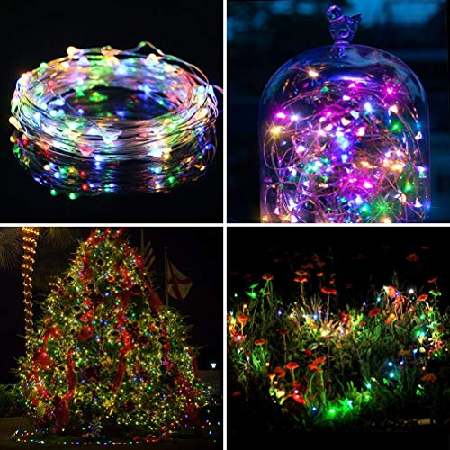 Fairy String Lights w/ Remote Control & Timer 5M/16.4FT 50 LED 8 Lighting Mode Waterproof Battery Powered Copper Wire Light For Easter Christmas Holiday Wedding Party Garden Home Decoration Multicolor