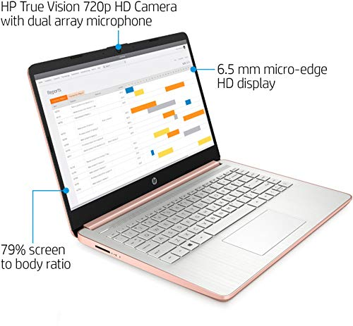 "2020 HP 14"" HD Laptop Thin and Light, Intel Celeron N4020 (Up tp 2.8GHz), 4GB RAM, 64GB eMMC, 1 Year Office 365, Webcam, HDMI, WiFi, Google Classroom or Zoom Compatible, w/64GB SD Card,GM Accessories"