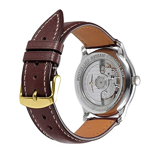 Watch Band 22mm Quick Release Replacement Leather Watch Straps AISHIRUI Genuine Coffee Italian Calf Leather Bracelet with Gold Buckle (Millimeter Watch Leather 21 Band)