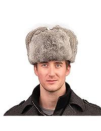 URSFUR Men's Rabbit Full Fur Russian Ushanka Trooper Hats Multicolor (Gray)