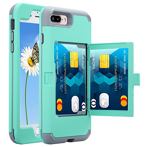 Price comparison product image iPhone 7 Plus / 8 Plus Wallet Case, KAMII Women Girly Style Card Holder with Hidden Back Mirror Hard PC Soft TPU Rubber Heavy Duty Shockproof Protective Case for Apple iPhone 7 Plus/8 Plus (Aqua)