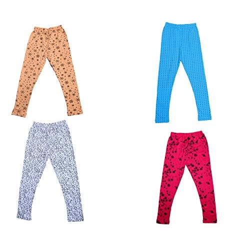 Pack of 4 Indistar Girls Cotton Printed Leggings Pants