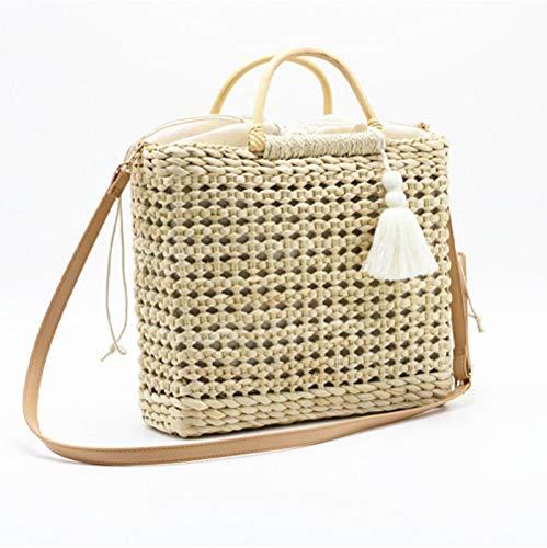 Dwqlx halmväskor sommar strandhandväskor majs husk väv kvinnor väskor märke designers crossbody väskor