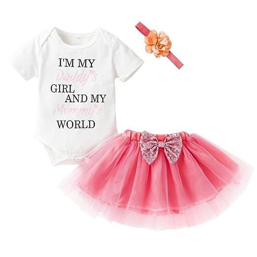 1f6ea6431 Amazon.com  Hot Sale 3PCS Newborn Girl Letter Romper Tops+Mesh Bow ...
