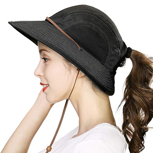 Ponytail Fishing Bucket Sun Hat for Women UV Protection Packable Foldable Wide Brim SPF Hunting Ladies Safari Sunhat ()