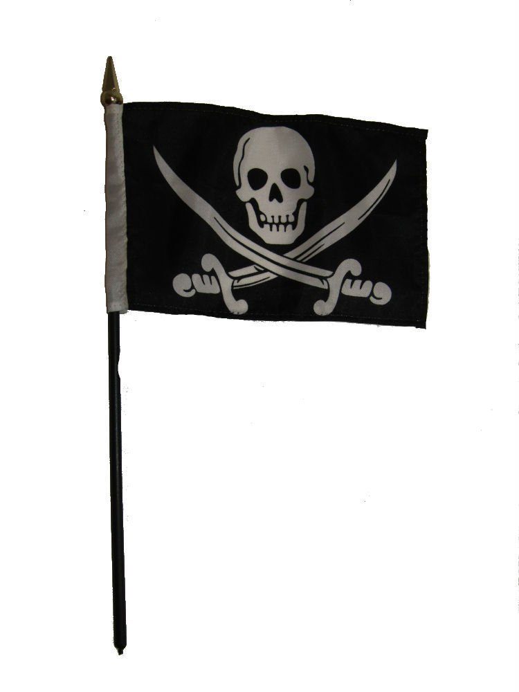 Jolly Roger Pirate Calico Jack Flag 4''x6'' Desk Table Stick