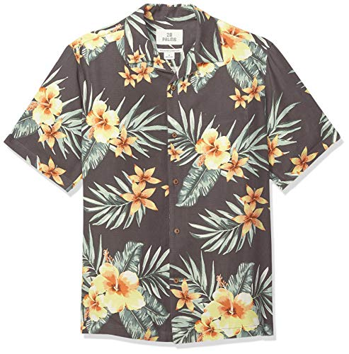 28 Palms Men's Relaxed-Fit 100% Silk Tropical Hawaiian Shirt, Charcoal/Orange Hibiscus Floral, XX-Large