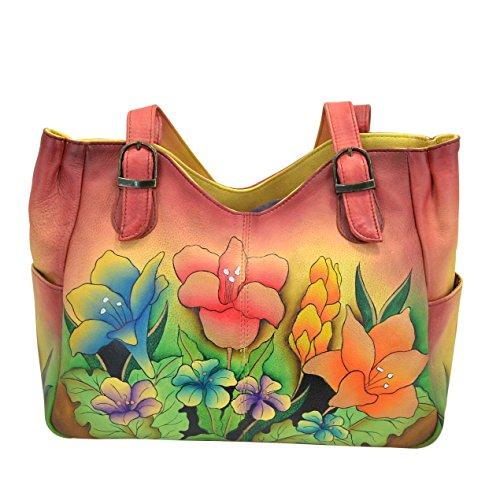 Anna by Anuschka Women's Genuine Leather Shoulder Bag | Hand-Painted Original Artwork | Mediterranean Garden