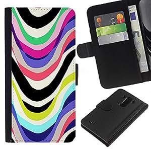 A-type (Lines Marker Abstract White) Colorida Impresión Funda Cuero Monedero Caja Bolsa Cubierta Caja Piel Card Slots Para LG G3