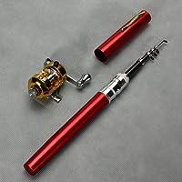 Etelux Mini Portable Pocket Forme Poisson Pen en alliage d'aluminium Pôle Canne à pêche Reel combos