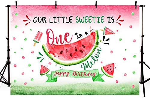 MEHOFOTO Watermelon Themed Girl First Birthday Photo Studio Background Pink Princess 1st One in a Melon Birthday Summer Fruit Party Decorations Banner Photography Backdrops for Dessert Table 7x5ft