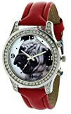 Dog Watch Pug #92190 Silver Metal Base Crystal Bezel 48MM On Red Leather Strap