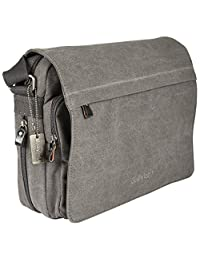 Dusky Leaf Compact Canvas Messenger Bag - Charcoal
