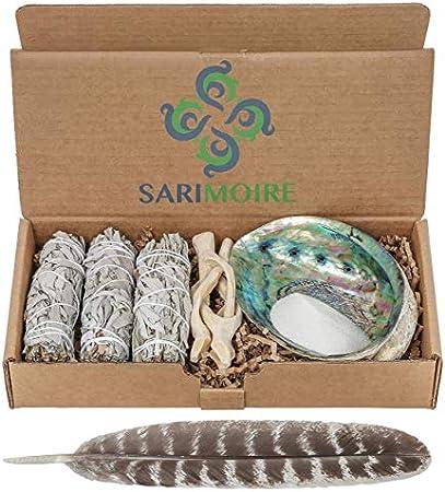 Kit de limpieza - Juego de 3 paquetes de salvia con caparazón de abulón, pluma, trípode y arena. Est