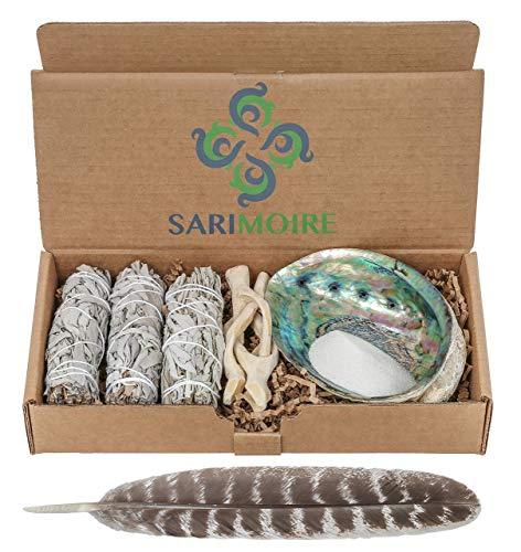 Sage Smudge Kit – White Sage Smudge Sticks ~ Abalone Shell 5-6 in ~ 2 in Tripod Stand ~ 10-12 in Feather and White Sand…