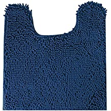 """MAYSHINE Non slip Contour Bath mats for Toilet   Soft Shaggy Chenille   Absorbent water   Dry Fast   Machine-washable   Perfect for Bathroom ,Tub, and Shower (20""""x24""""Dark Blue )"""