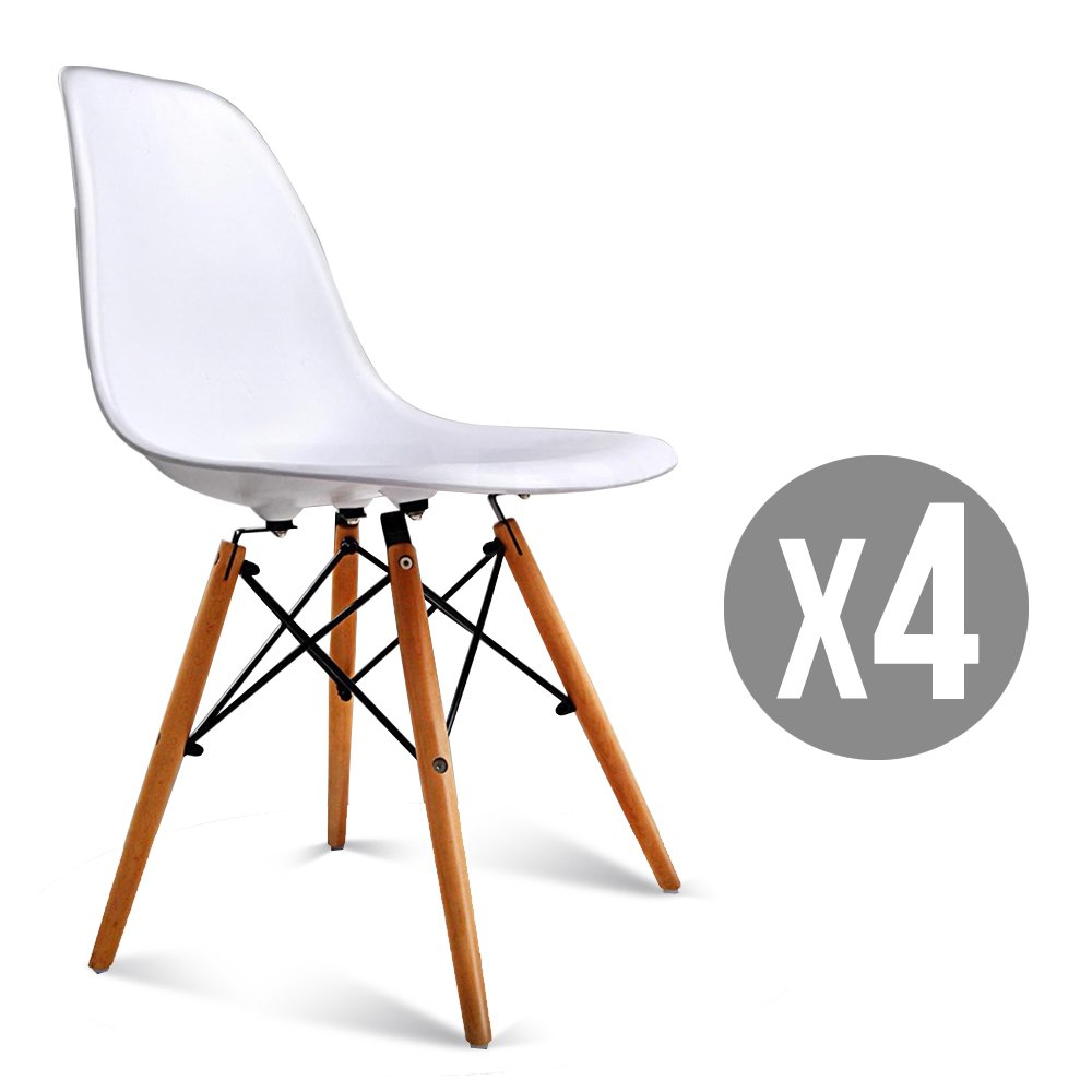 SUNCOO Mid Century DSW Dining Side Chairs with Wood Legs White,Set of 4
