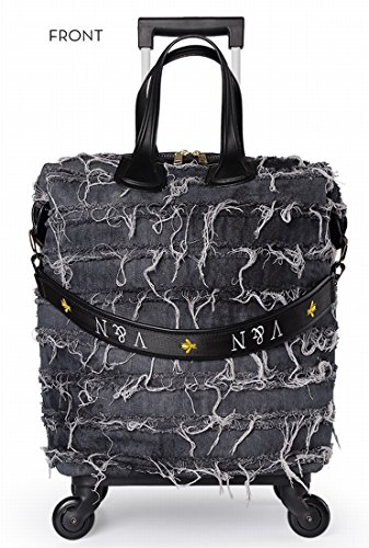 f48c14052a 18 inch Fashion Wheeled Rolling Tote Garment Bag denim suitcase travel  Luggage for women girls Dark